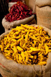 Red chili and yellow curcuma Royalty Free Stock Photos