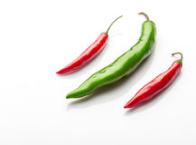 Red chilies. On white background Stock Photography