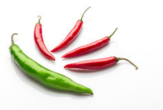 Red chilies. On white background Royalty Free Stock Images