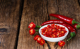 Red Chilis in a bowl (cutted) royalty free stock images