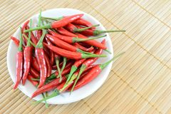 Red chilli. In a plate on bamboo mat royalty free stock photography