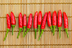 Red chilli. In a row on a bamboo mat Royalty Free Stock Image