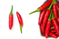 Red chilli. In a bowl isolated on white background Stock Photography