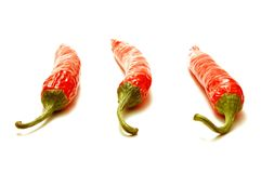 Red Chilli. Peppers isolated on white background Royalty Free Stock Photos