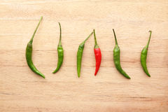 Red chilli amongst Green chillies Royalty Free Stock Photos
