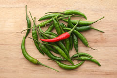 Red chilli amongst Green chillies Stock Photos