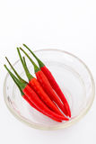 Red chilli in glass bowl. Thai super red hot chilli, thai spices Stock Images
