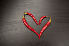 Red chilli heart royalty free stock photo
