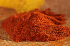 Red chilli paprika powder spice on table Royalty Free Stock Photography
