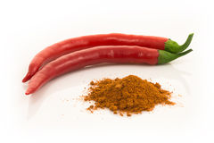 Red chilli pepper or cayenne pepper Stock Photos