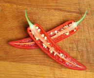 Red Chilli Pepper Chopped or Sliced Royalty Free Stock Photos