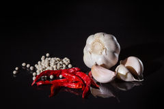 A red chilli pepper and garlic Stock Photography