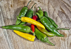 Red chilli pepper and other peppers Stock Photo