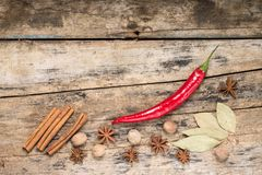 Red Chilli Pepper with other Spices on textured wooden Background. Top View royalty free stock image