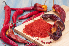 Red chilli pepper piece. And ground pepper on a wooden board Royalty Free Stock Images