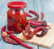 Red chilli pepper piece. Red chilli peppers preserved in the bank and single-piece Royalty Free Stock Photos