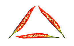 Red chilli pepper with seed, health triangle Stock Images