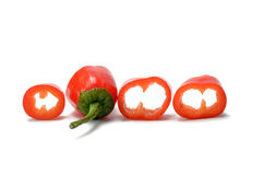 Red chilli pepper slices isolated on white background Stock Images