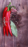 Red chilli pepper and spices Royalty Free Stock Images