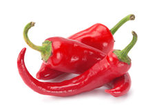 Red chilli pepper on white Stock Photos