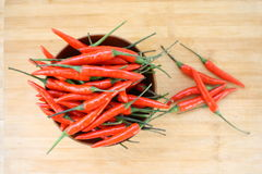 Red Chilli Peppers. Red chili peppers on a wooden Royalty Free Stock Images