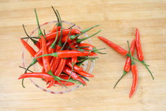 Red Chilli Peppers. Red chili peppers on a wooden Royalty Free Stock Image
