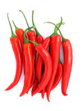 Red Chilli Peppers. Red hot chilli peppers on white background Stock Images