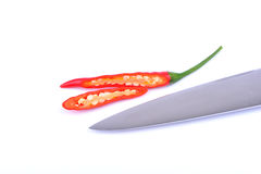 Red chilli peppers isolated on white Stock Photography