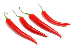 Red Chilli Peppers. In a row Stock Images