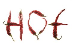 Red chilli peppers spelling the word Royalty Free Stock Photo