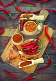 Red chilli peppers and spices Royalty Free Stock Photo