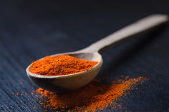 Red chilli peppers, spicy on a wooden spoon. Chilly on a wooden spoon. Vegetable. Concept of hot food. Stock Photography