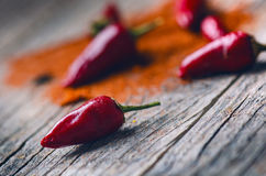 Red chilli peppers, spicy on a wooden spoon. Vegetable on a dark, wooden table. Concept of hot food. Royalty Free Stock Images