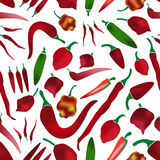 Red chilli peppers types of hot chillies simple colorful collection seamless pattern eps10 Royalty Free Stock Photography