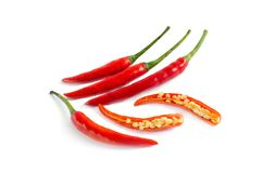 Red chilli slice on white background royalty free stock photo