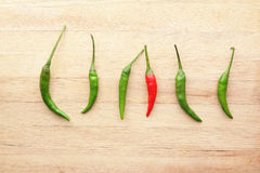 Red chilli standing out amongst green chillies Royalty Free Stock Photography