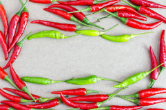 Red chilli on wooden table background. Stock Photo