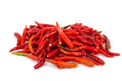 Red chillies. Basket of long red chillies stock photos