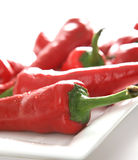 Red Chillies. A background with fresh red chillies in a white plate Royalty Free Stock Image