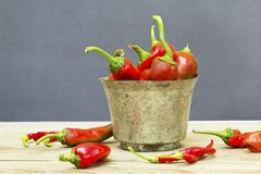 Red chillies in old bowl on wooden background. royalty free stock photo