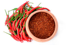 Red chillies with red chilly powder Royalty Free Stock Images