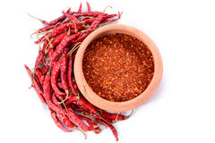 Red chillies with red chilly powder Royalty Free Stock Photography