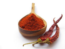 Red Chilly. Spicy red chilly powder on wooden spoon and whole chillies isolated on white royalty free stock image