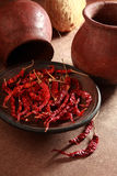 Red chilly in clay pot Stock Photography
