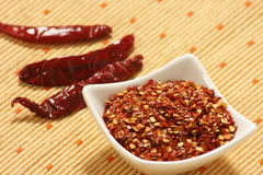 Red Chilly Flakes. Seeds of red chilly. Often used for adding spice to a prepared dish Stock Images