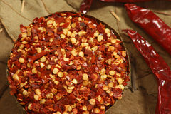 Red Chilly Flakes. Seeds of red chilly. Often used for adding spice to a prepared dish Stock Photo