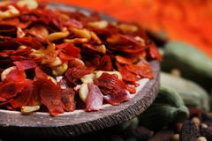 Red chilly flakes. Beautiful shot of hot red red chilly flakes stock images