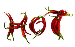 Red chilly peppers letters. Isolated on white background Stock Photo