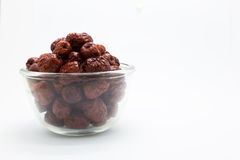 Red china dried jujube fruit on glass cup Stock Images