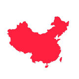 Red china outline. A red china outline map Stock Photos